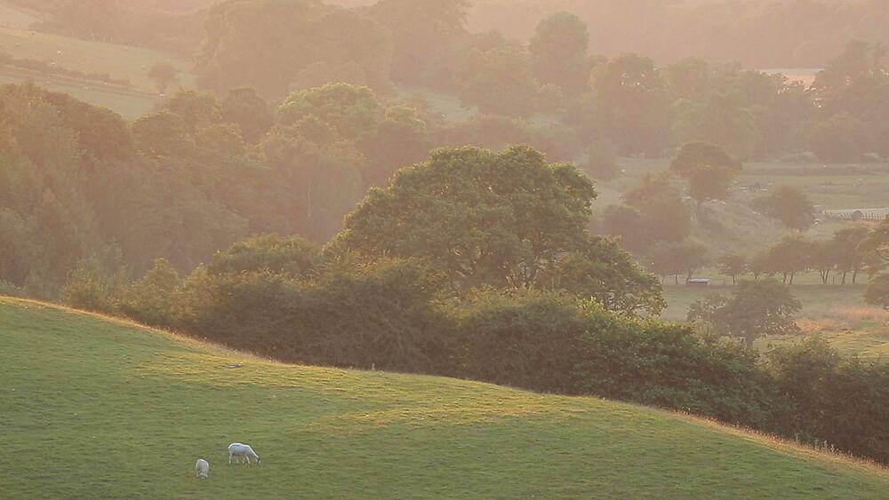 View of Countryside near Hathersage at sunset, Derbyshire, England, UK, Europe