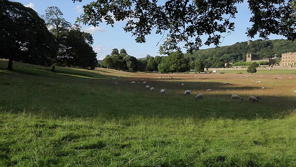 View of Chatsworth House, Derbyshire, England, UK, Europe
