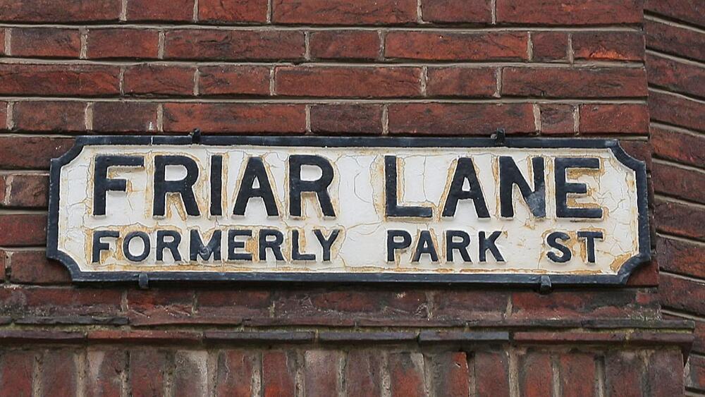Friar Lane sign, Nottingham, Nottinghamshire, England, UK, Europe