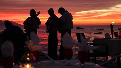 Beach Restaurant at Sunset, Downtown, Puerto Vallarta, Mexico, North America