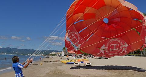 Paragliding and the Beach, Puerto Vallarta, Nayarit, Mexico, North America