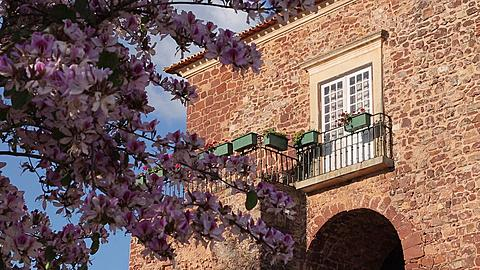 Spring Blossom in Old Town, Silves, Algarve, Portugal, Europe