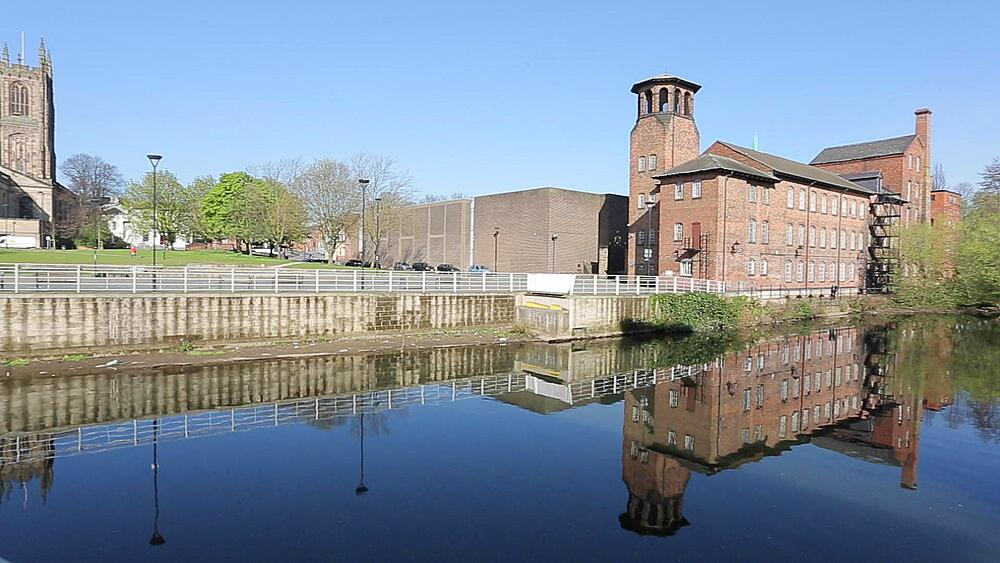 Cathedral and Silk Mill, River Derwent, Derby Derbyshire, England, UK, Europe