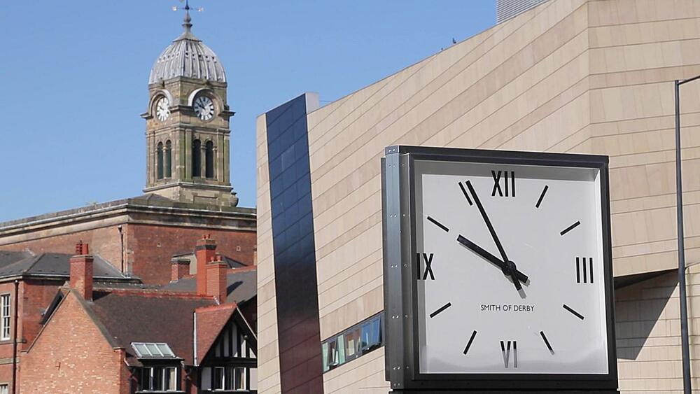 The Guildhall Clock Tower & Clock, Derby Derbyshire, England, UK, Europe