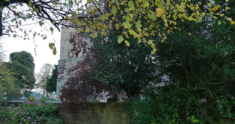 Autumn Leaves, Church at Teversal, Nottinghamshire, England, United Kingdom, Europe