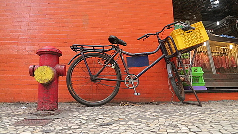 Bicycle & Colorful Painted Walls near Copacabana Beach, Rio de Janeiro, Brazil, South America
