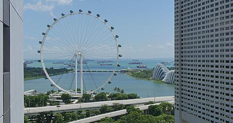 View from South Bank to Singapore Flyer, Singapore, South Asia, Asia