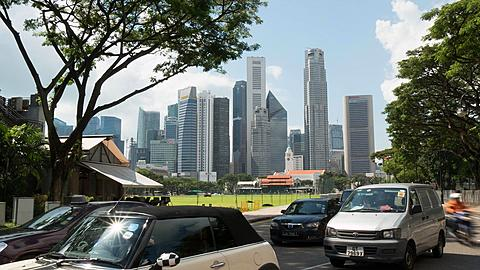Traffic and Central Business District Skyline, Singapore, South Asia, Asia