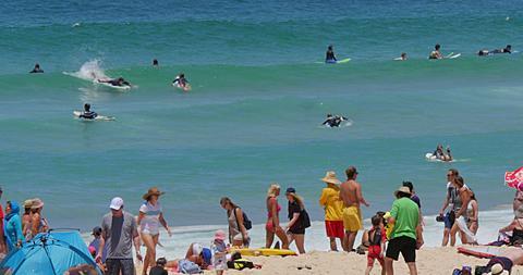 Surfers on Bondi Beach, Sydney, New South Wales, Australia