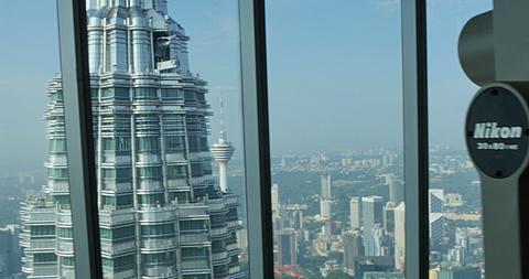 Petronas Towers viewing level, Kuala Lumpur City Centre Park, Kuala Lumpur, Malaysia, South East Asia, Asia