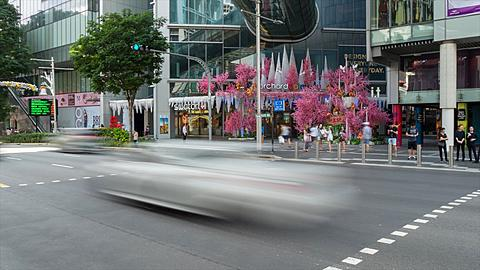 Christmas Decorations on Orchard Road Time Lapse, Singapore, South Asia, Asia