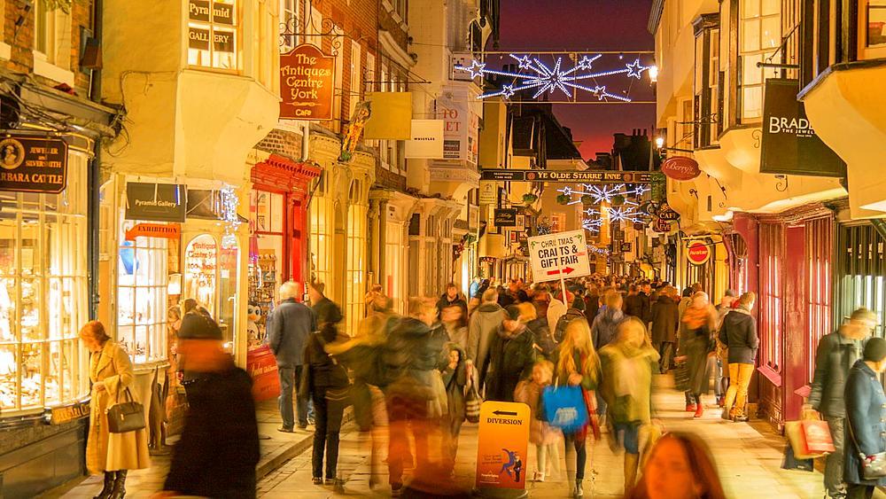 Busy street at Christmas, York, Yorkshire, England, United Kingdom, Europe
