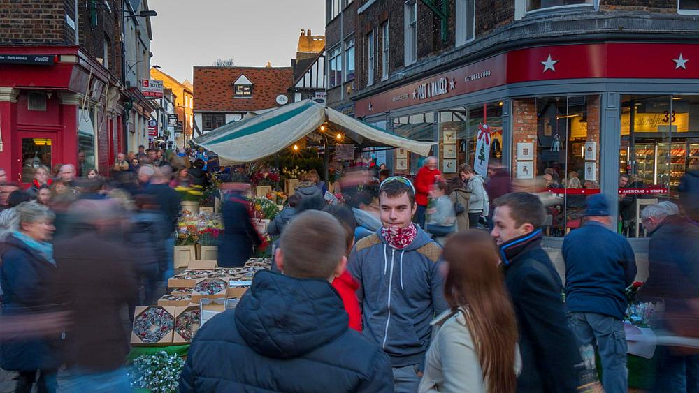 Busy Market Square, York, Yorkshire, England, United Kingdom, Europe