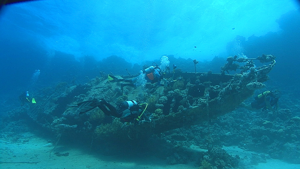 small sailing boat wreck and divers, Red sea, Egypt - 958-1110
