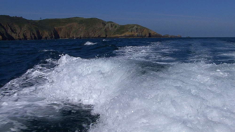 Stern wake of boat. Channel Islands, British waters - 958-566