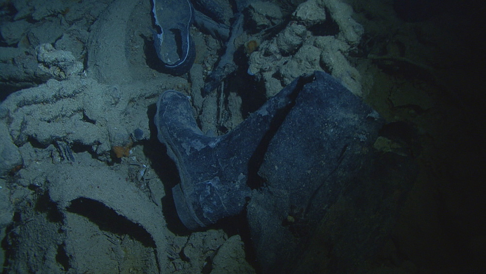 boots, interior Thistlegorm, Red sea, Egypt - 958-847