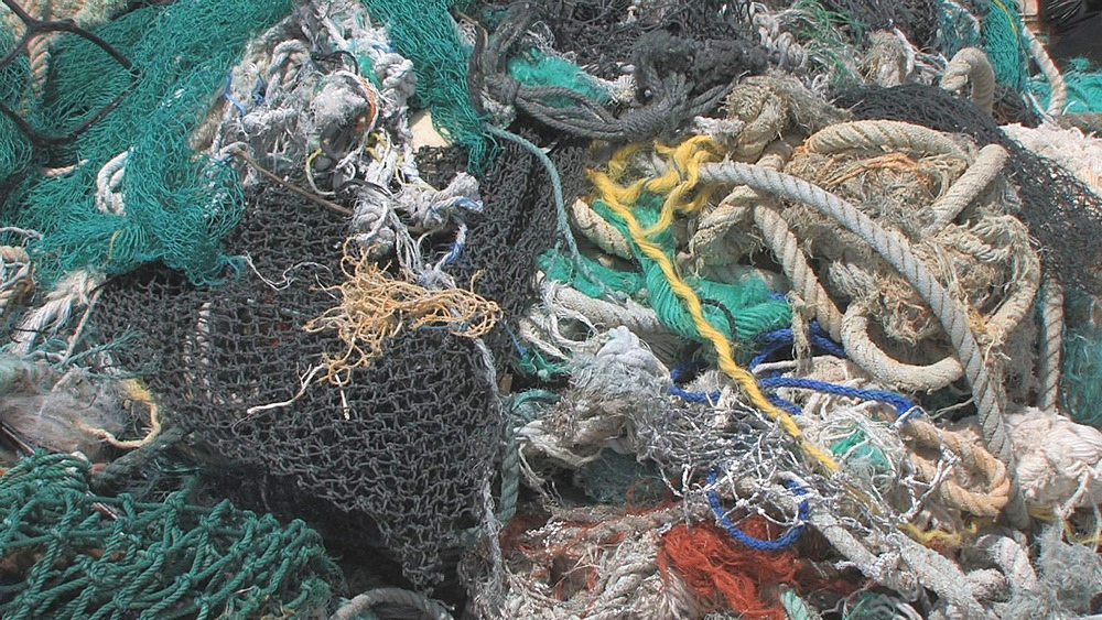 Mound of washed up rubbish and discarded nets. Conservation story - rubbish. Midway Island. Pacific