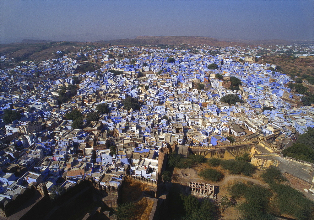 Aerial View of Blue Houses for the Bhrahman, Jodhpur, Rajasthan, India - 1-40928