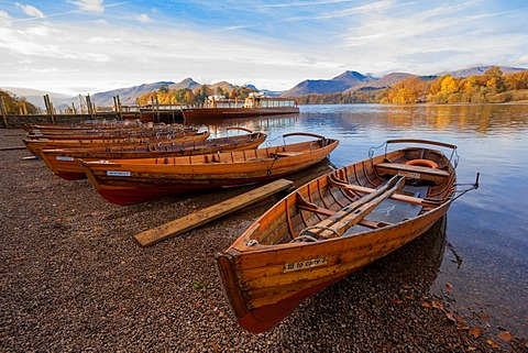 Boats at Keswick Landing on Derwentwater Autumn morning - 1101-121