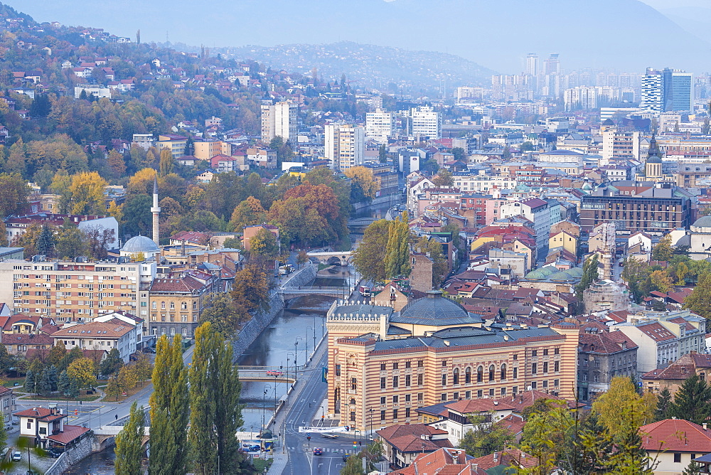 View of city and Miljacka River, Sarajevo, Bosnia and Herzegovina, Europe - 1104-1000