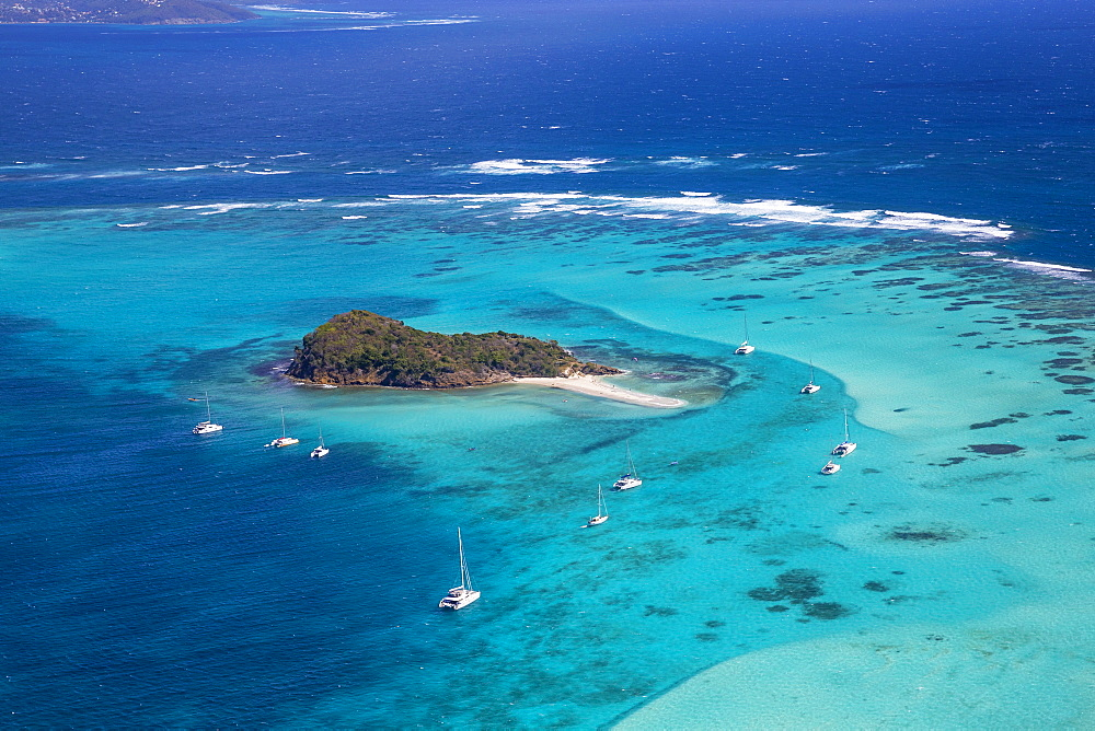 Aerial view of Baradal, Tobago Cays, The Grenadines, St. Vincent and The Grenadines, West Indies, Caribbean, Central America