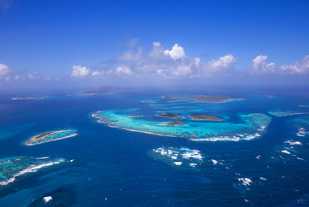Aerial view of the Tobago Cays, The Grenadines, St. Vincent and The Grenadines, West Indies, Caribbean, Central America