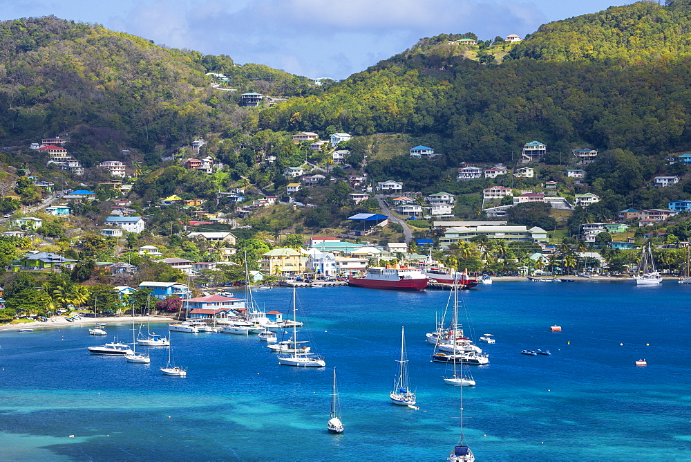 View of Admiralty Bay and Port Elizabeth, Bequia, The Grenadines, St. Vincent and The Grenadines, West Indies, Caribbean, Central America