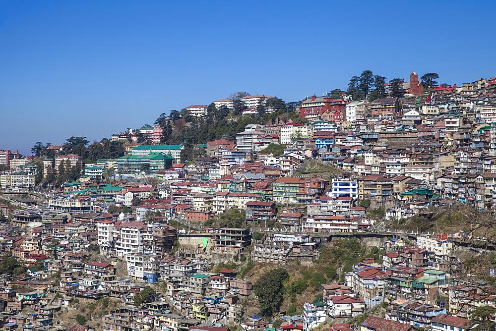 View of city center, Shimla (Simla), Himachal Pradesh, India, Asia - 1104-1159