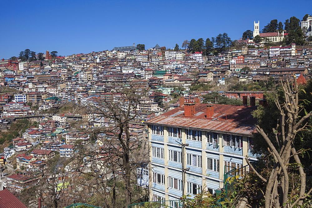 Terrace garden of Clarkes Hotel and city view, Shimla (Simla), Himachal Pradesh, India, Asia - 1104-1160