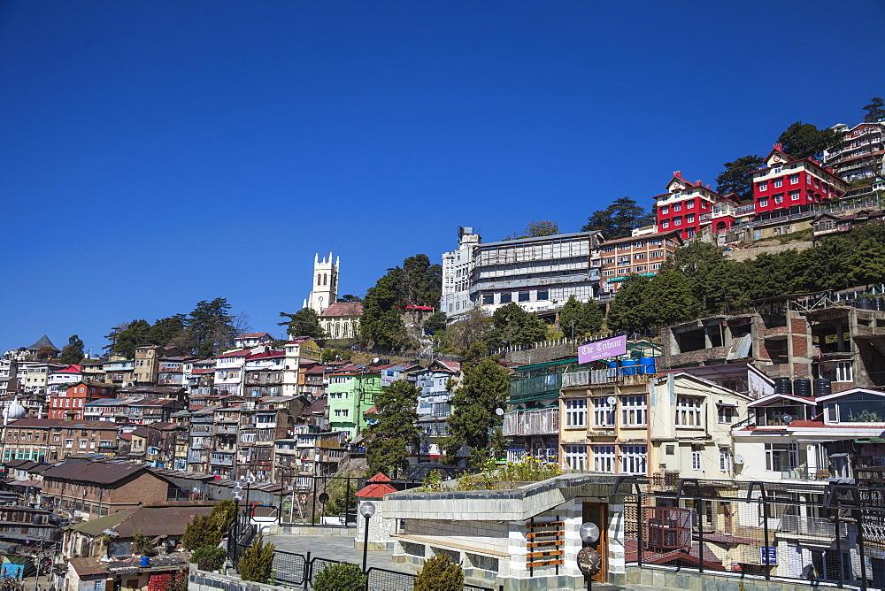 View over city looking towards Christ Church, Shimla (Simla), Himachal Pradesh, India, Asia