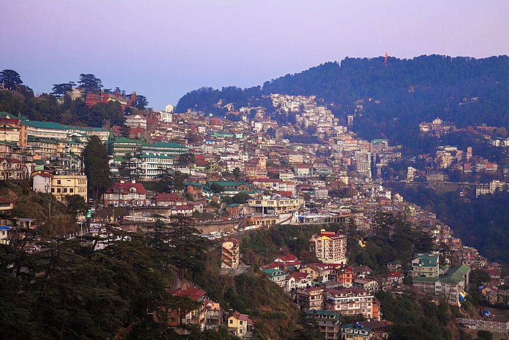 View of city, Shimla (Simla), Himachal Pradesh, India, Asia - 1104-1162
