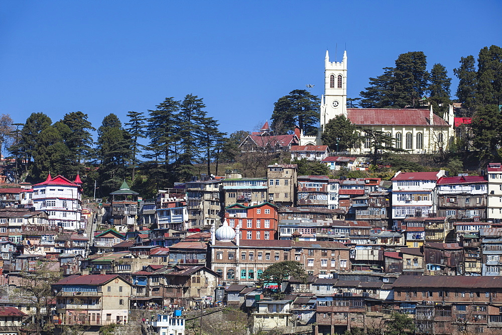 View over city looking towards Christ Church, Shimla (Simla), Himachal Pradesh, India, Asia