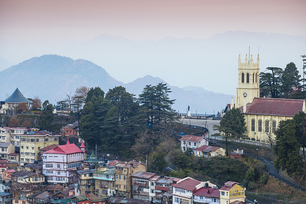 View of city looking towards the Ridge and Christ Church, Shimla (Simla), Himachal Pradesh, India, Asia