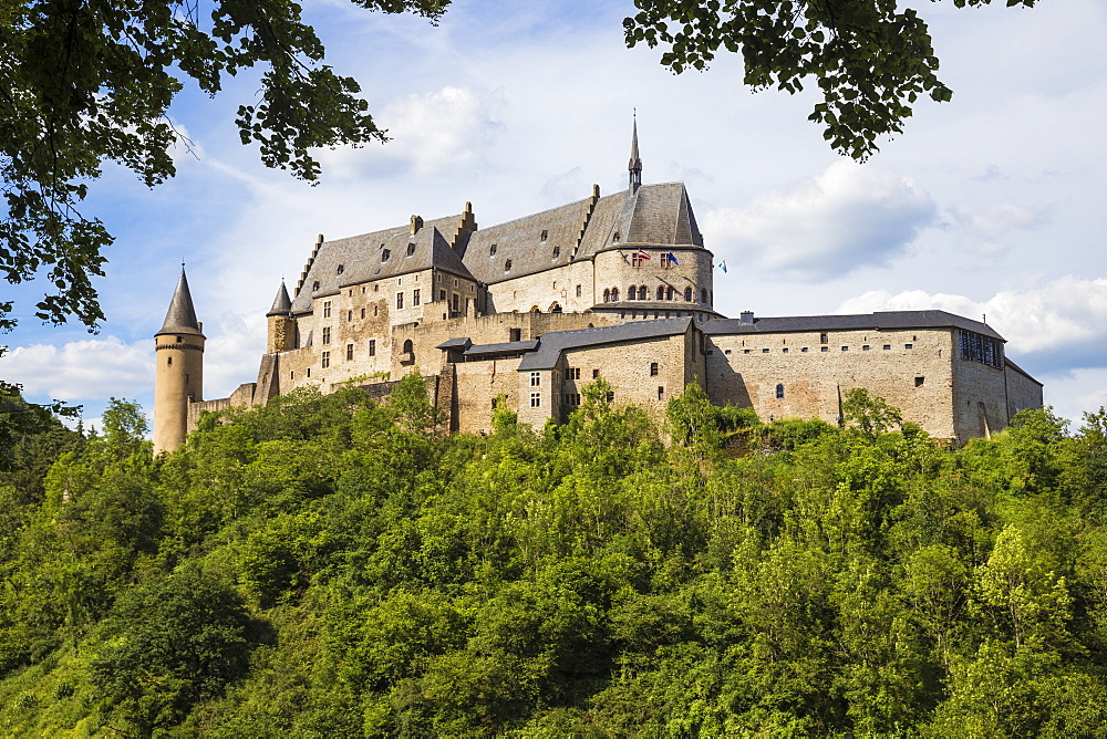 View of Vianden Castle, Vianden, Luxembourg, Europe