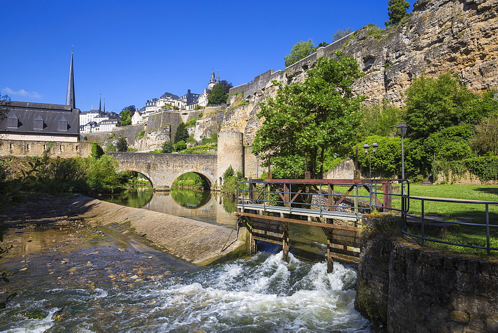 Stierchen stone footbridge and Brock Promontory, Luxembourg City, Luxembourg, Europe