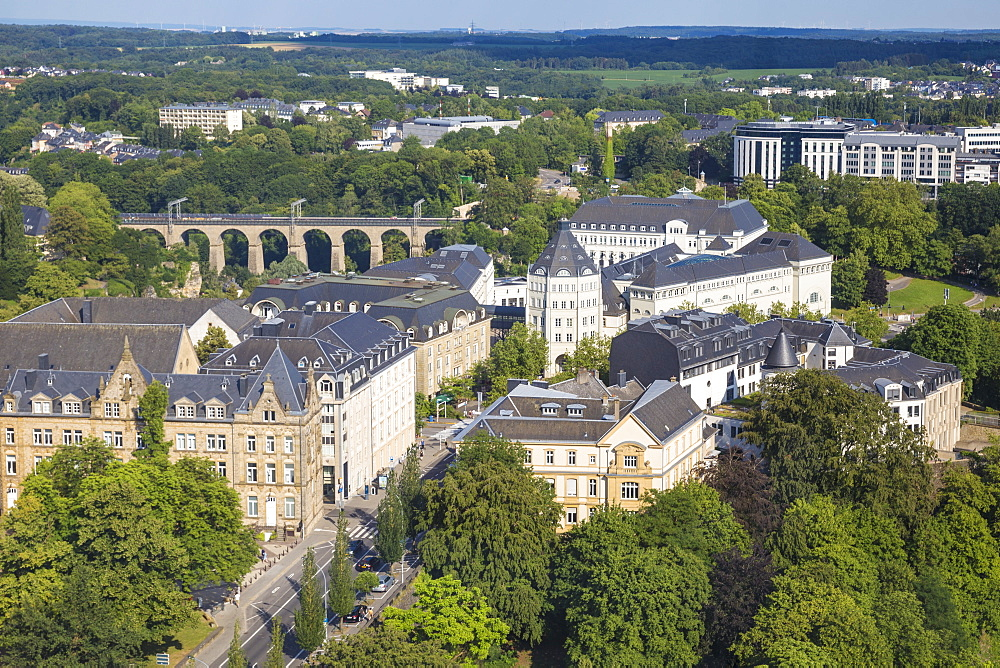 City view looking towards The Judiciary City and train viaduct, Luxembourg City, Luxembourg, Europe