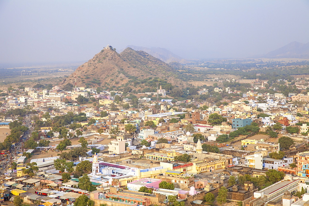 Aerial view of Pushkar Camel Fair, Pushkar, Rajasthan, India, Asia