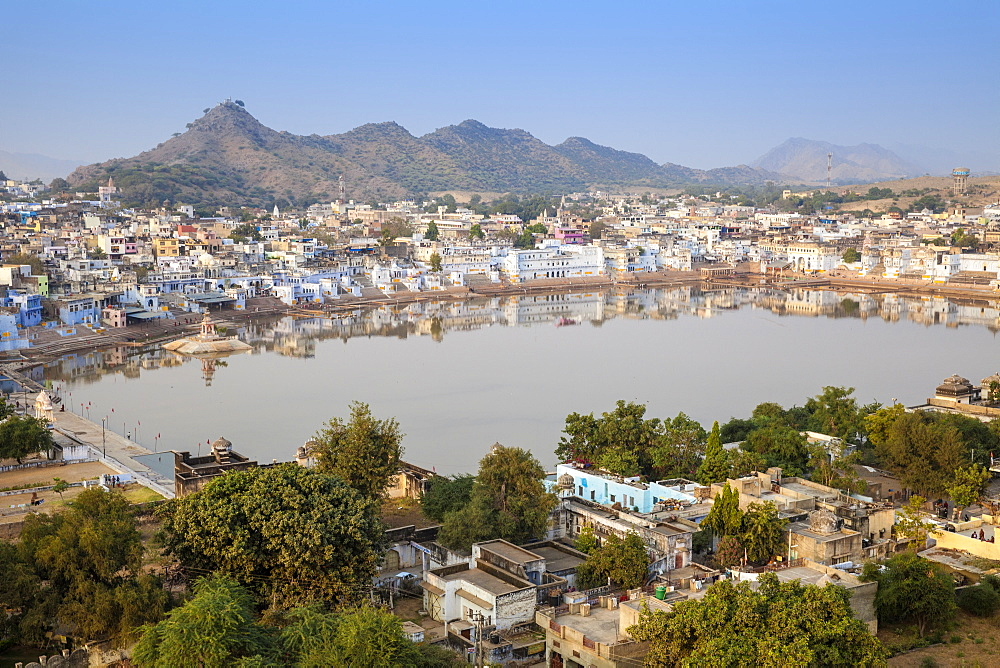 Aerial view of Pushkar, Rajasthan, India, Asia
