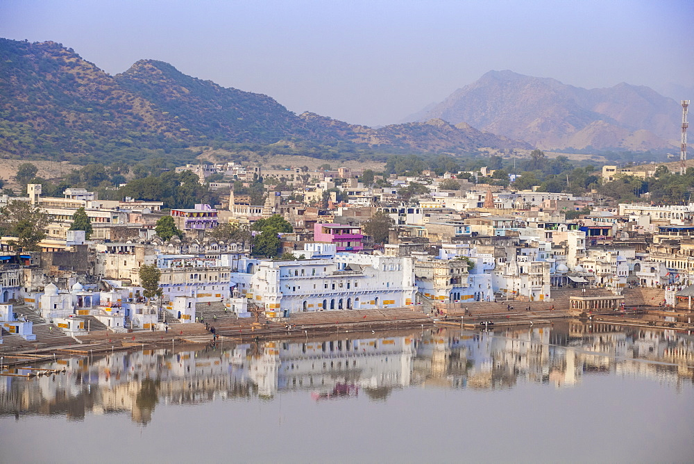 Aerial view of Pushkar, Pushkar, Rajasthan, India, Asia