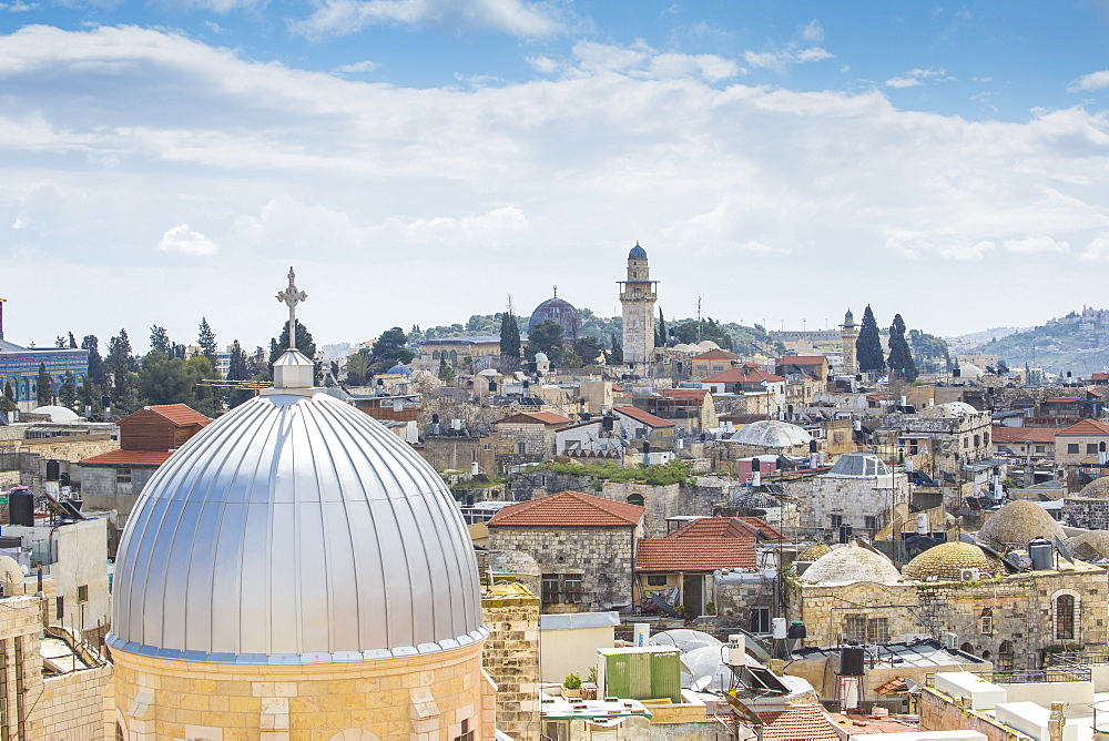 Israel, Jerusalem, View of Dome of the Rock and the Old Town