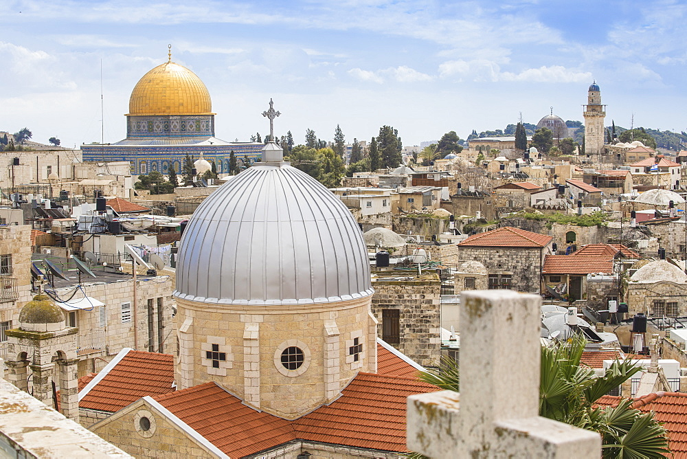 View of Dome of the Rock and the Old City, UNESCO World Heritage Site, Jerusalem, Israel, Middle East - 1104-1323