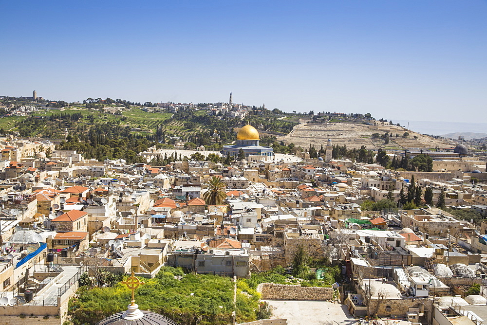 View towards Temple Mount and the Mount of Olives, Jerusalem, Israel, Middle East - 1104-1325
