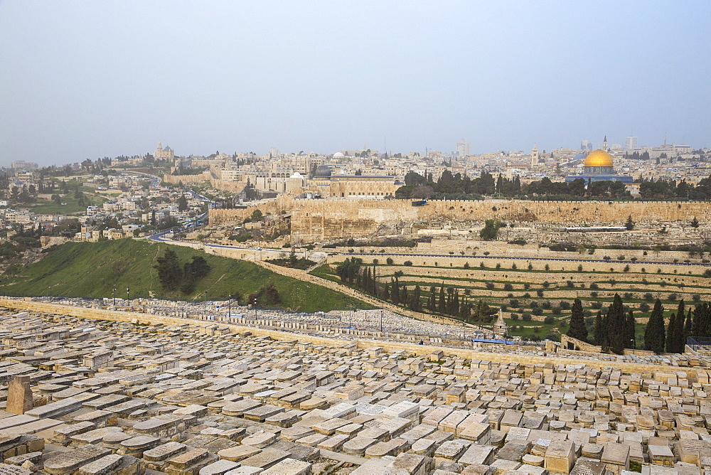 View of Mount of Olives and Dome of the Rock, Jerusalem, Israel, Middle East - 1104-1327