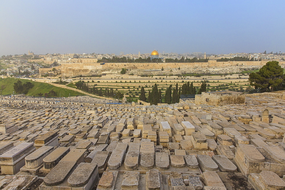 View of Mount of Olives and Dome of the Rock, Jerusalem, Israel, Middle East - 1104-1328