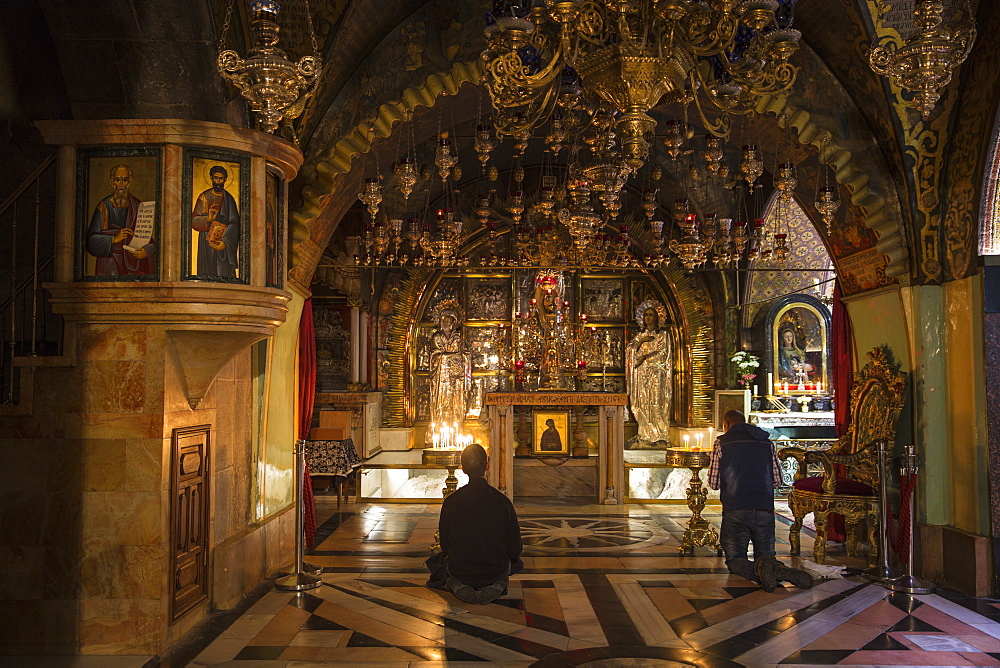 Church of the Holy Sepulchre, Calvary (Golgotha), the place where Jesus was crucified, Old City, UNESCO World Heritage Site, Jerusalem, Israel, Middle East - 1104-1335