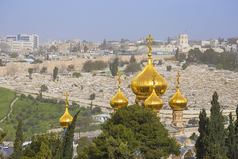 View of Church of Mary Magdalene and Mount of Olives, Jerusalem, Israel, Middle East