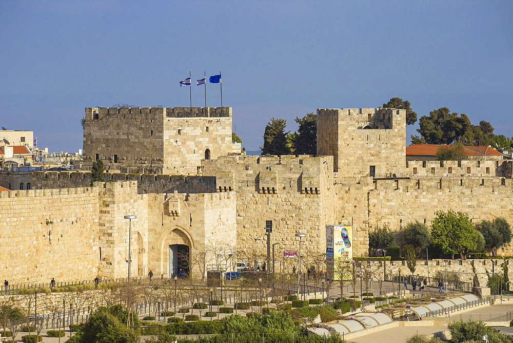 View of Jaffa Gate, Old City, UNESCO World Heritage Site, Jerusalem, Israel, Middle East - 1104-1356