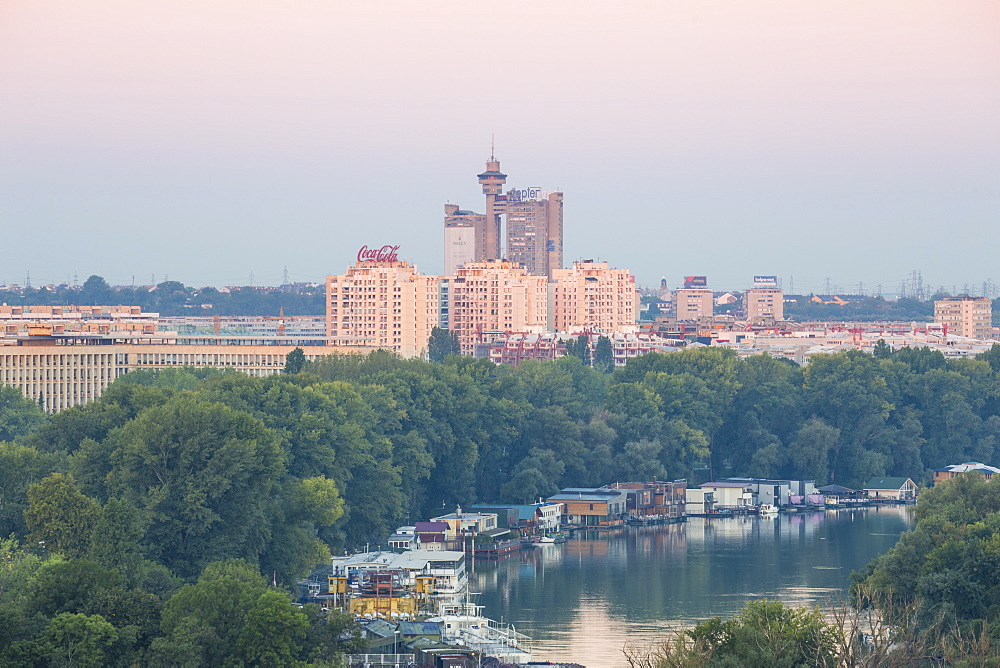 View of the confluence of the Sava and Danube rivers with Genex tower in distance, Belgrade, Serbia, Europe - 1104-1361