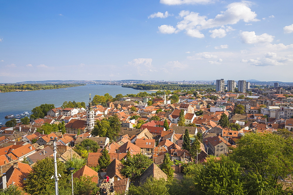 View of Zemun rooftops and the Danube River, Zemun, Belgrade, Serbia, Europe - 1104-1378