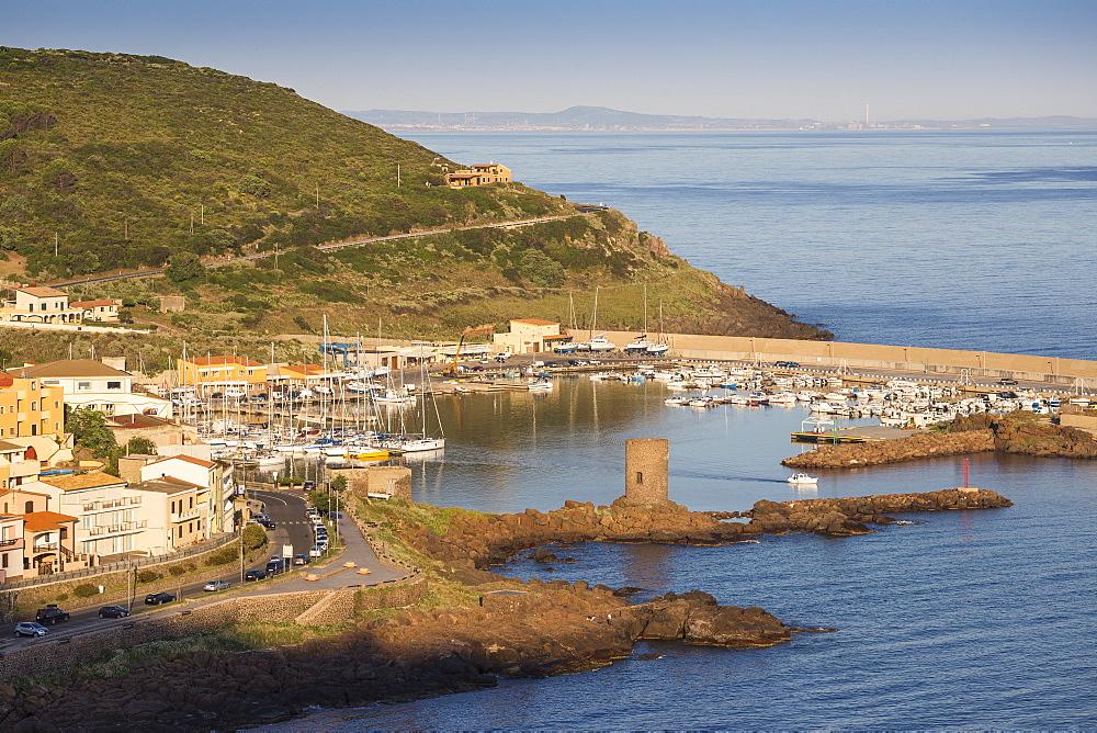 View towards marina, Castelsardo, Sassari Province, Sardinia, Italy, Mediterranean, Europe